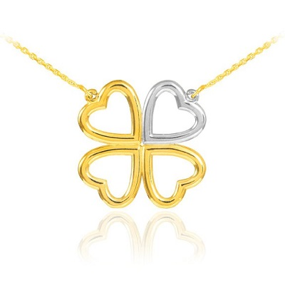 14k White and Yellow Gold Shamrock Heart Necklace