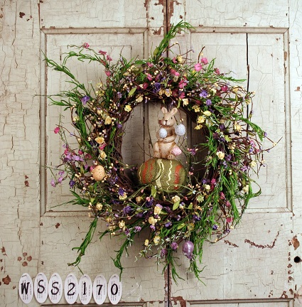 Mixed Flower Easter Wreath with Bunny