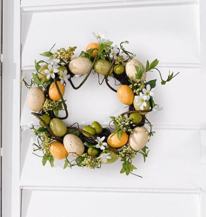Easter Door Wreaths Spring Colors with Decorative Eggs, Flowers and Leaves