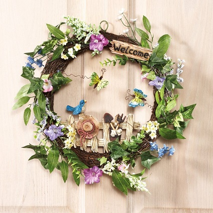 Floral Garden Spring Welcome Wreath