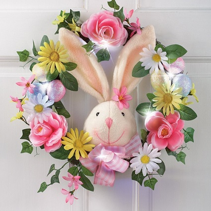 Easter Bunny Wreath with LED lights and flowers #EasterBunny