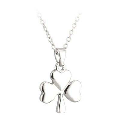 Lucky Shamrock Pendant Necklace Rhodium