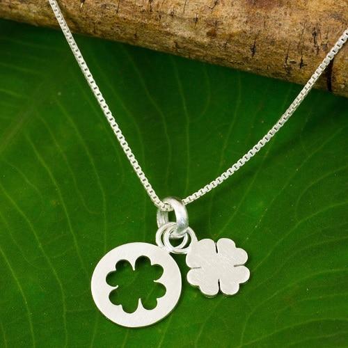 Sterling silver Four Leaf Clover pendant necklace
