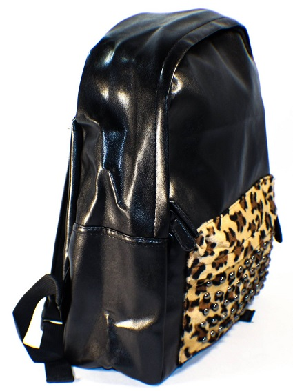 black pu pleather studded backpack
