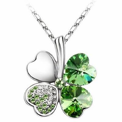 swarovski elements crystal four leaf clover pendant necklace