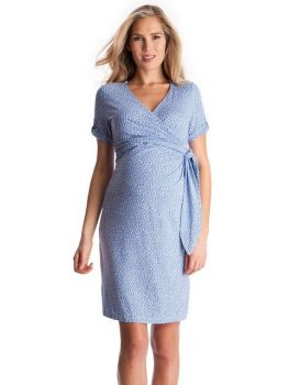 Baby Blue Polka Dot Maternity Dress
