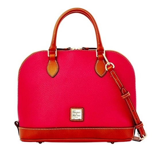 Dooney & Bourke Pebble Grain Zip Satchel in strawberry red