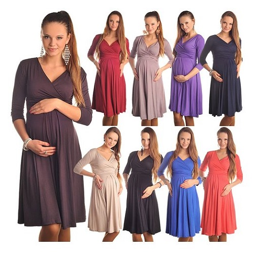 Cute Maternity Dress For Fall with V-neck