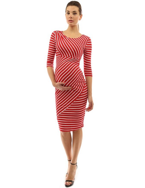 PattyBoutik Mama Striped Elbow Sleeve Maternity Dress