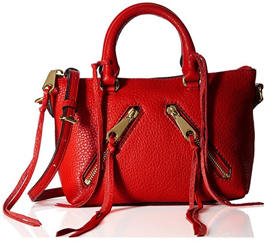 Rebecca Minkoff Micro Moto Satchel in cherry red with zipper details on the front
