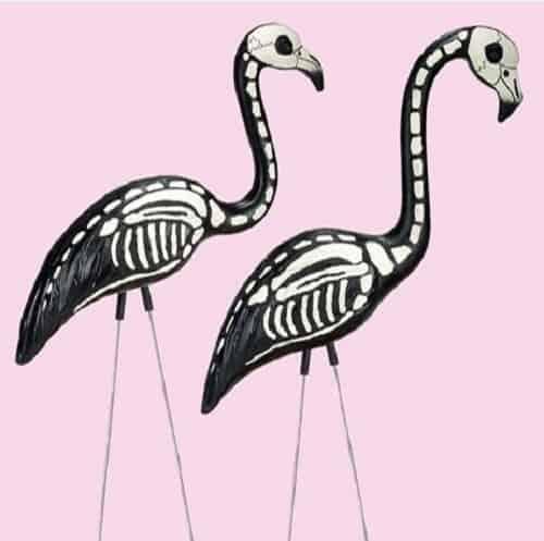 Halloween Skeleton Yard Flamingos Lawn Decor