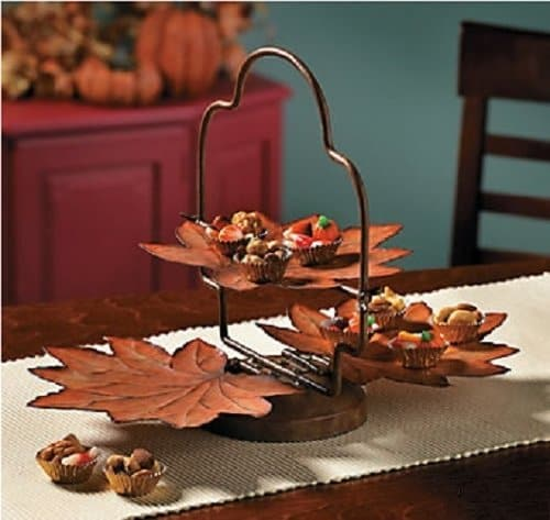 fall leaves server for Thanksgiving table