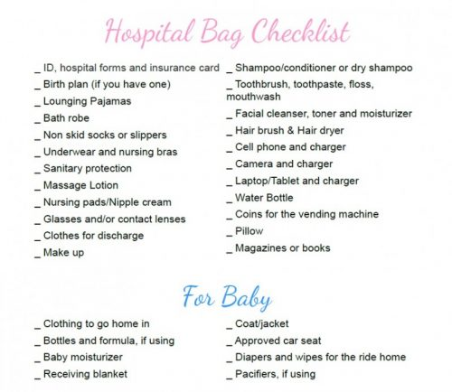 Pregnancy Hospital bag checklist