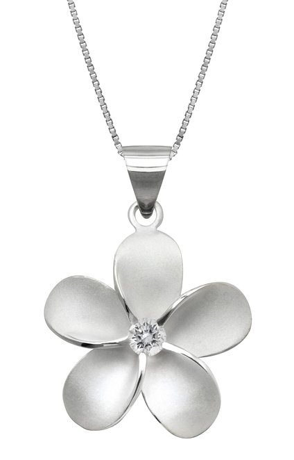 Plumeria Flower Necklace Pendant with 18 Box Chain