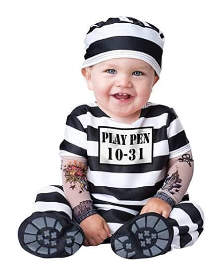 Baby's Time Out Convict Costume - Cute Halloween Costume for baby consists of Cap and jumpsuit with attached mesh tattoo sleeves, snaps for easy diaper change and skid resistant feet