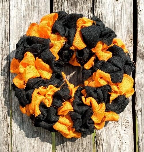 Black and Orange Burlap Halloween Wreath