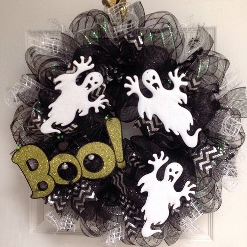 Halloween Mesh Wreath with Ghosts and Boo Sign