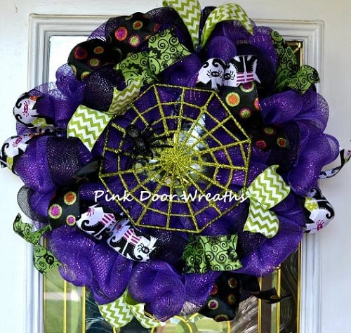 Halloween Mesh Wreath with Spider Web