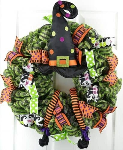 Halloween Witch Wreath in Lime Green, Black and Orange with witch's hat and legs