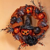 Halloween Wreath with Pumpkins and spiders