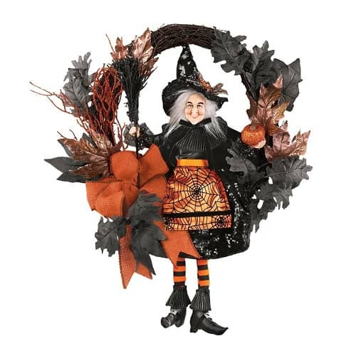 Orange & Black Glittery Witch Halloween Wreath - Halloween Decor