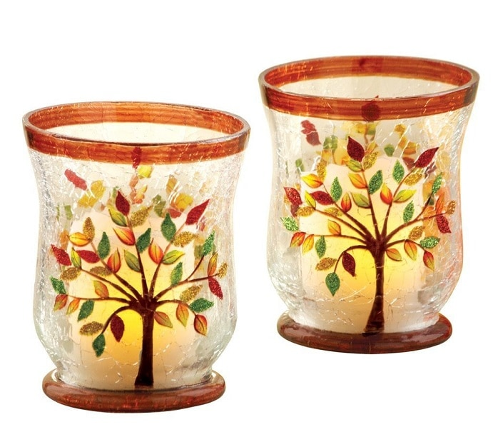 autumn tree candle holders