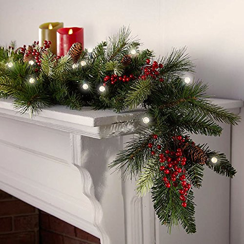 cordless led pre-lit cone and berry christmas garland