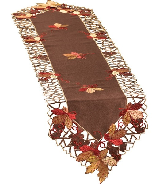 Embroidered Autumn Leaves Table Runner