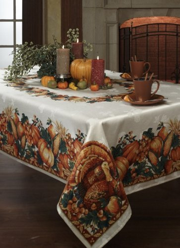 Harvest Splendor Tablecloth - Beautiful Thanksgiving tablecloth