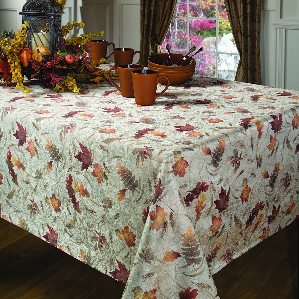 Natures Leaves Printed Tablecloth - Classy, yet elegant tablecloth for Thanksgiving