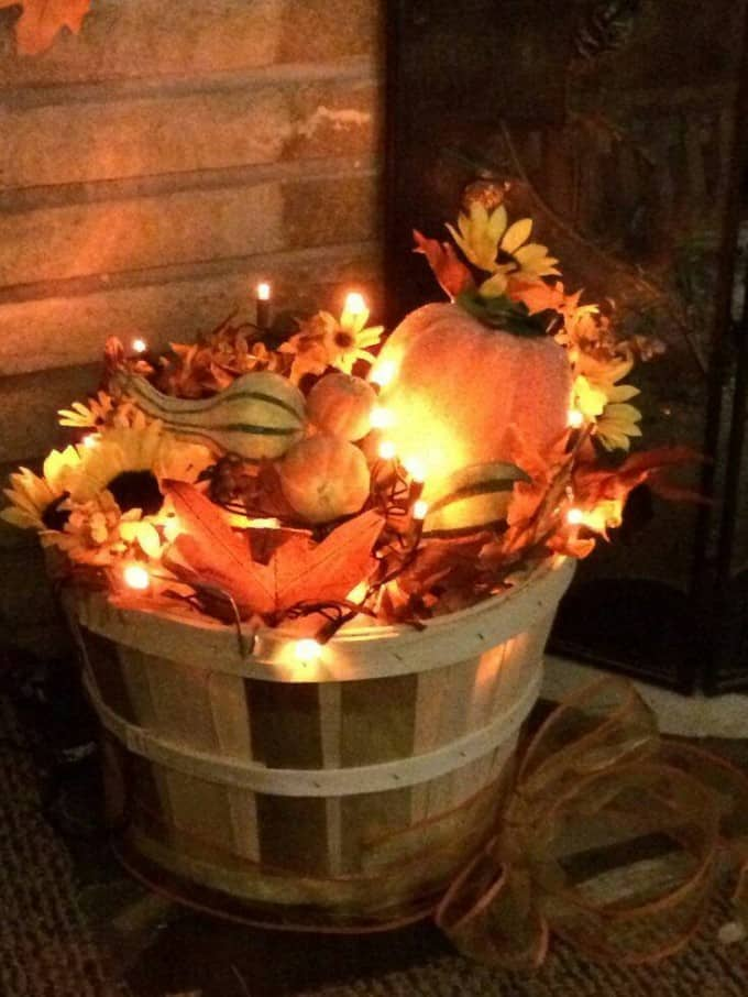 Basket with Fall Leaves and Fairy Lights - Thanksgiving Decor Ideas - Easy Thanksgiving Decoration Ideas