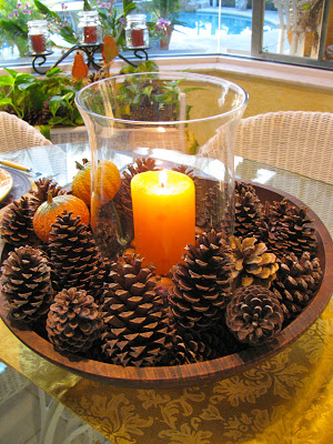 pine cone hurricane light centerpiece