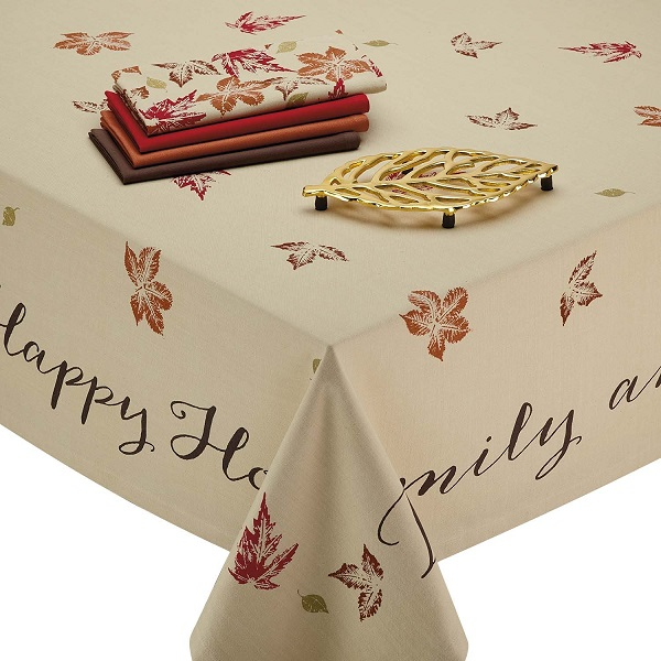 "tablecloths for Thanksgiving - rustic leaves with inspring Thanksgiving messages like ""Give Thanks,"" ""Family and Friends,"" ""Happy Home,"" and ""Welcome"""