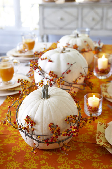 white pumpkins wrapped with bittersweet - So simple, yet beautiful Thanksgiving decor idea!