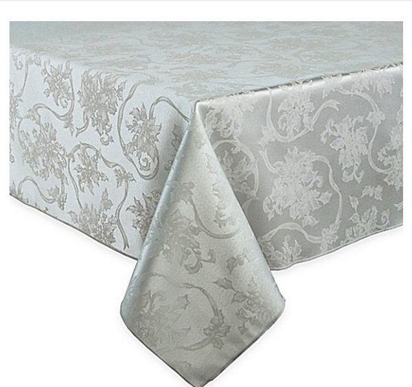 Christmas Ribbons Platinum Silver Gray Damask Fabric Tablecloth - Tablecloths for Christmas