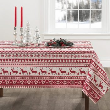 Nordic Christmas Herringbone Print Rectangle Tablecloth - Tablecloths for Christmas, Christmas Tablecloth