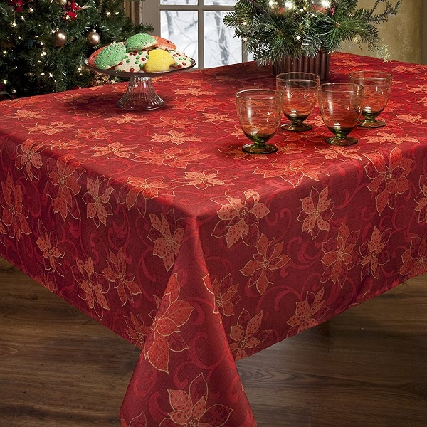 Poinsettia Christmas Tablecloth - Tablecloths for Christmas, Christmas Tablecloth