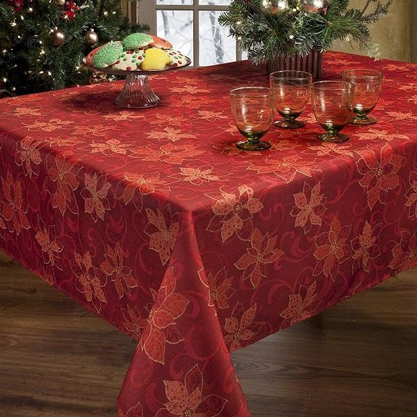 Poinsettia Christmas Tablecloth - Tablecloths for Christmas, Christmas Tablecloth