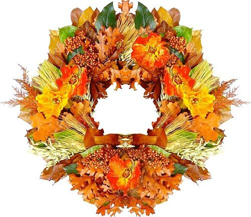 Autumn Poppy Wreath made with silk poppies. Love the fiery fall colors on this wreath! #autumndecor #falldecor
