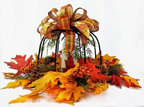 Fall Pumpkin Centerpiece made from Wrought Iron decorated with pine cones, leaves, berries and ribbons. Comes with a flameless candle #falldecor