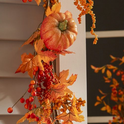 Fall Leaf Garland decorated with pumpkins, berries, pine cones and maple leaves in beautiful vibrant colors. Use this garland on your mantle, staircase, door or windows for any easy fall decor update.