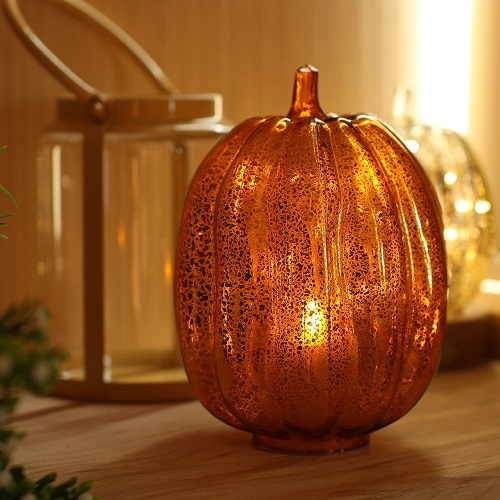 Pumpkin Lantern with Flameless Candle