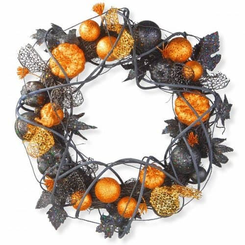 Halloween Wreath with Orange and Black Glittered Pumpkins, Gourds and Ball Ornaments