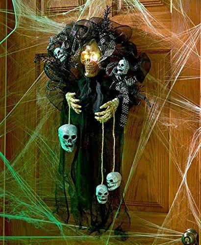 Haunting Skull with Lighted Eyes Halloween Door Wreath