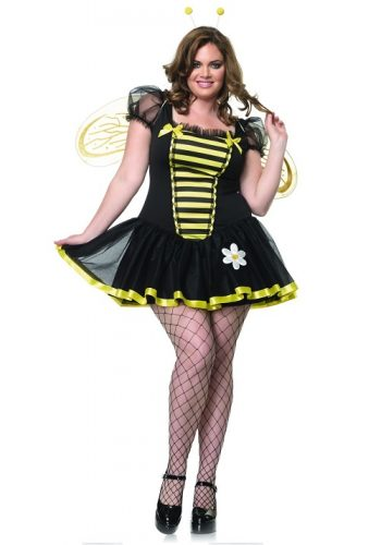 Plus Size Honey Bee Costume - Look beeeautiful in this cute and sexy little costume. This (Halloween) costume consists of a tutu dress with short sleeves, gold glitter bee wings and antenna headband. The dress has cute little flower and ribbons sewed on on.