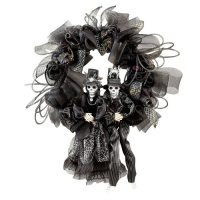 Scary Halloween Skeleton Couple Wreath