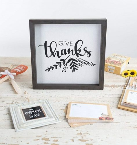Give Thanks Framed Linen Sign - Give Thanks Wall Decor