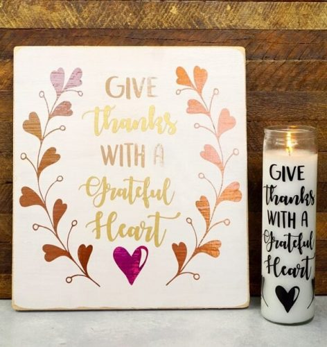 Give Thanks Mixed Metallic Sign and Candle | Thanksgiving Decor Ideas