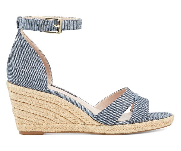 Jabrina Espadrille Wedges in Dark Blue Denim