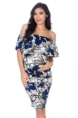 Off-Shoulder Maternity Dress